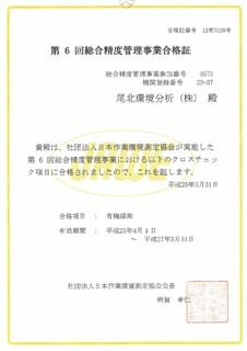 第6回総合精度管理事業合格証 クロスチェック合格項目 有機溶剤